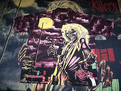Vintage Iron Maiden KILLERS Dragonfly Collar Button Dress Bowling Shirt M Rare