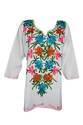 Women's Indian Ethnic Tunic Floral Embroidered White Cotton Kurti Blouse L