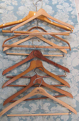 BOX LOT-8* VINTAGE WOODEN SUIT CLOTHES HANGERS Locking Bars *HEAVY DUTY $8.99