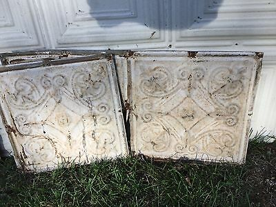 "Old Antique Decorative Tin Ceiling Tile Panel Vintage Metal 1' x 1"" (12"" x 12"")"