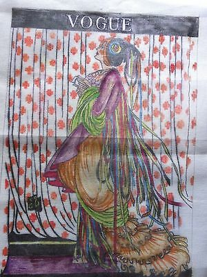 Large Hand Painted Needlepoint Canvas Vogue Dramatic Garbed Woman 22 X 16