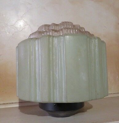 Art Deco Vintage Green Skyscraper Style Light Shade with Clear Diffuser.