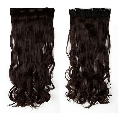"""27"""" Long Curly Clip in Synthetic Hair Extensions Real human love medium brown"""