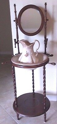 Vintage Antique Ironstone pitcher and wash basin with stand Must See