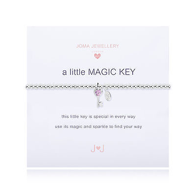Joma Jewellery Girls a little Magic Key CHILDRENS silver charm bracelet & bag