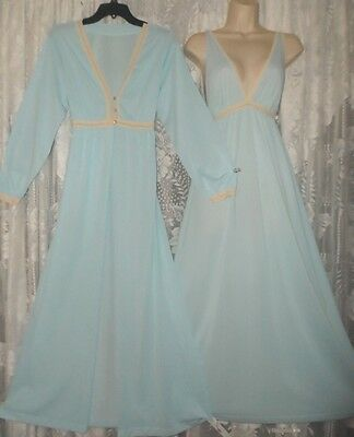 Vtg Elegant Blue Soft Nylon Peignoir Robe Nightgown Negligee Gown Set M L