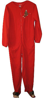 Nick & Nora Sock Monkey Footed Pajamas One Piece Sleeper Union Suit S Small NEW