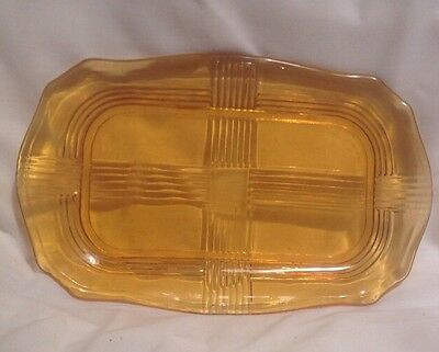 Vintage depression glass amber sandwich/ Serving plate