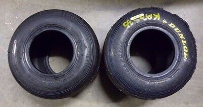 2 x DUNLOP DFM REAR TYRES - Go Kart Tyres (Done 1 race meeting)