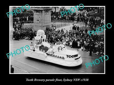 OLD LARGE HISTORIC PHOTO OF THE TOOTH BREWERY PARADE FLOAT, SYDNEY NSW c1938