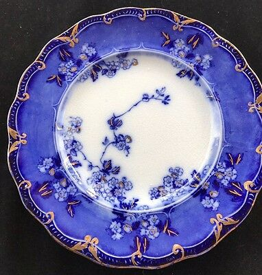 """Flow Blue Lugano 8"""" Salad Plate By Ridgway In Near Mint Condition Circa 1910"""