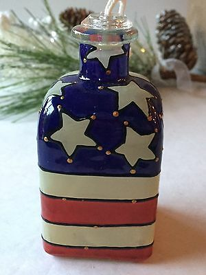Decorative Oil Burner ~ Americana Flag Painted  Patriotic 🇺🇸#538