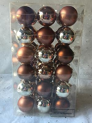 "Lot Of 54 Christmas Ornaments ~ Glass , Browns, Golds 1"" ~ #570"