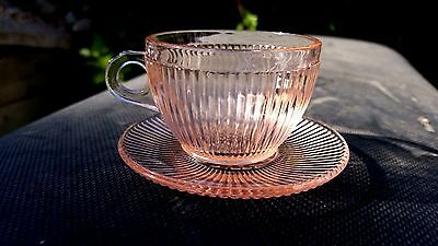 Pink Homespun Fine Rib Child's Cup and Saucer
