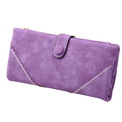 New Fashion Womens Leather Card Wallet Button Clutch Purse Long Card Handbag Zip