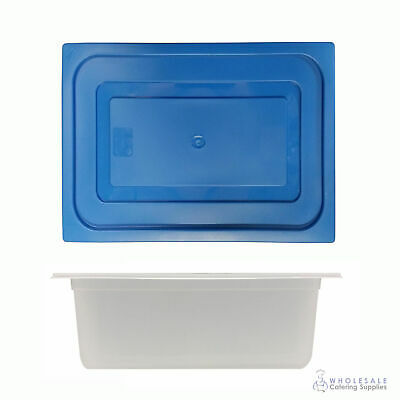 12x Food Pan with Blue Lid 1/2 GN 200mm Half Size Polypropylene Gastronorm