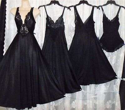 VTG Lot 4 Black OLGA Collection Lingerie 3 Nightgown Negligee GOWNS 1 Teddy M L