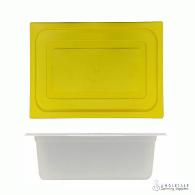 6x Food Pan with Yellow Lid 1/2 GN 200mm Half Size Polypropylene Gastronorm