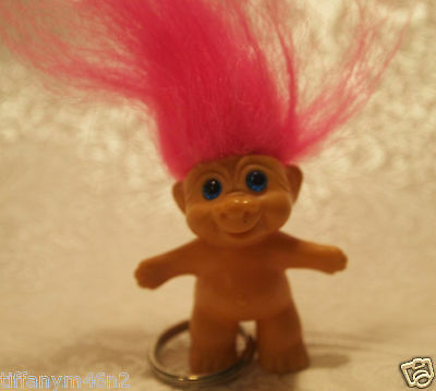 "Vintage DAM Troll Doll Keychain 2"" Tall with Pink Hair and Blue Eyes"