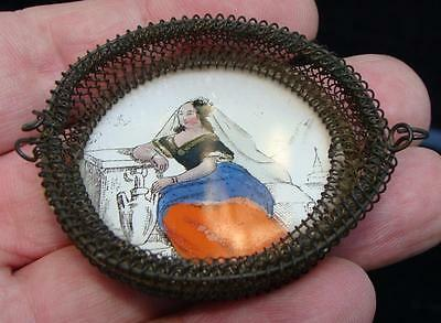 "Antique Miniature Reverse Painted On Glass ""Woman in Dress"" Wire Basket"