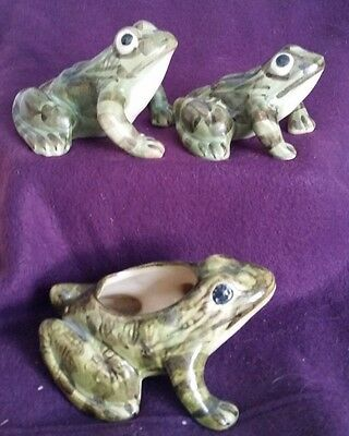 3 BRUSH McCOY FROGS - 2 FIGURINES (AS IS) 1 PLANTER