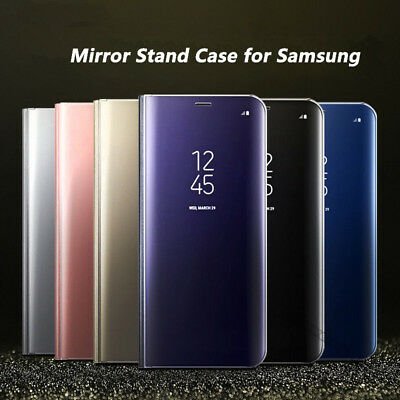 Luxury Mirror View Hard Flip Case Stand Cover for Samsung Galaxy Phone / S8 Plus