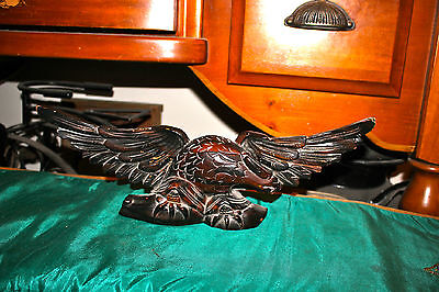 Antique Hand Carved American Eagle W/Spread Wings-Wood Carved Eagle-Angry Look
