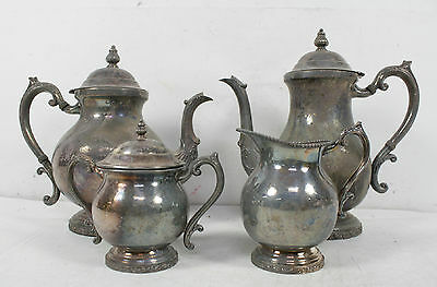 4 Piece Vintage FB Rogers Silver Co Silverplate Teapots Creamer Suger Bowl Set