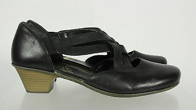 Rieker Antistress Black Leather Strappy Heel Slip On Comfortable Shoes Size 40