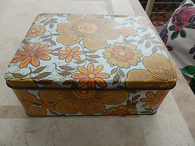 "Large retro "" Willow "" Cake Tin .Orange Floral Pattern. Hinged Lid"