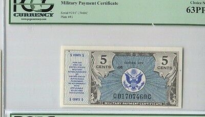 U.S. Military Payment Certificate 5 cents Series 472 PCGS 63PPQ Choice New