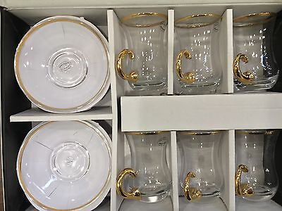 Turkish Style Tea Cups & Saucer With Gold 12 Pc