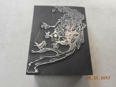 Printing Letterpress Printers Block, Decorative Bird House w Birds, Printers Cut