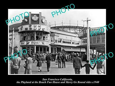 OLD HISTORIC PHOTO OF SAN FRANCISCO PLAYLAND, FUN HOUSE & MERRY GO ROUND c1940