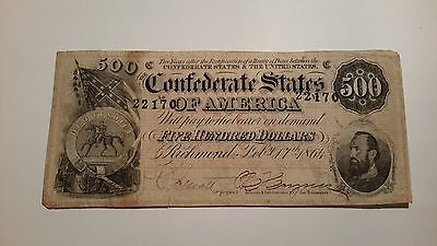 Beautiful 1864 Confederate States Of America $500 Note-Very Decent Condition