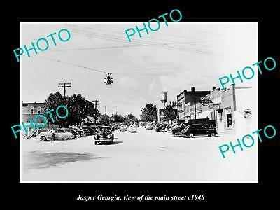 OLD LARGE HISTORIC PHOTO OF JASPER GEORGIA, VIEW OF THE MAIN STREET c1948