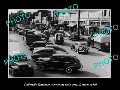 OLD LARGE HISTORIC PHOTO OF COLLIERVILLE TENNESSEE, THE MAIN St & STORES c1940 2