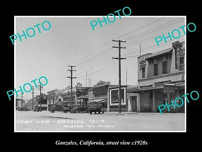 OLD LARGE HISTORIC PHOTO OF GONZALES CALIFORNIA, STREET VIEW c1920s