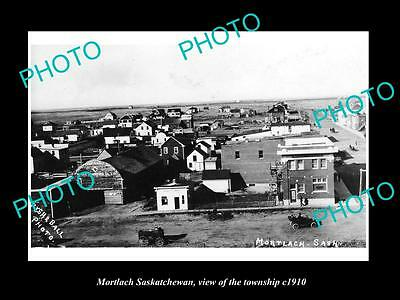 OLD LARGE HISTORIC PHOTO OF MORTLACH SASKATCHEWAN, VIEW OF THE TOWNSHIP c1910