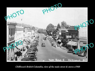 OLD LARGE HISTORIC PHOTO OF CHILLIWACK BRITISH COLUMBIA, MAIN St & STORES c1940
