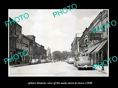 OLD LARGE HISTORIC PHOTO OF AYLMER ONTARIO CANADA, THE MAIN St & STORES c1940