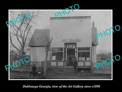 OLD LARGE HISTORIC PHOTO OF DAHLONEGA GEORGIA, THE ART GALLERY STORE c1890