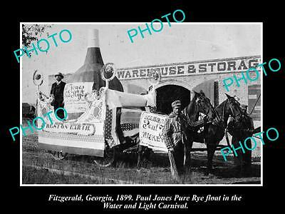 OLD HISTORIC PHOTO OF FITZGERALD GEORGIA, PAUL JONES WHISKEY PARADE FLOAT c1899