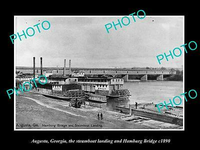 Old Large Historic Photo Of Augusta Georgia, The Steamboat Landing & Bridge 1890