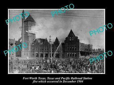 Old Large Historic Photo Of Fort Worth Texas, The Railway Station Fire 1904