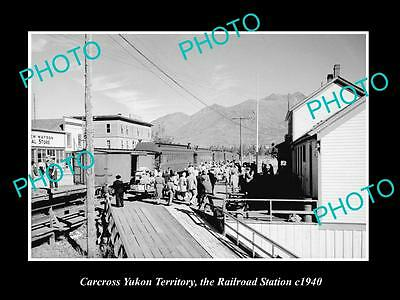 OLD LARGE HISTORIC PHOTO OF CARCROSS YUKON, VIEW OF THE RAILROAD STATION c1940