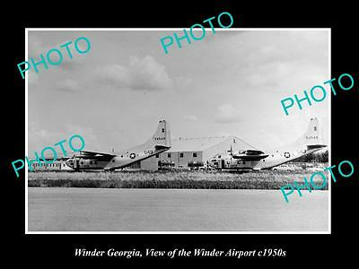 OLD LARGE HISTORIC PHOTO OF WINDER GEORGIA, VIEW OF THE AIRPORT c1950s