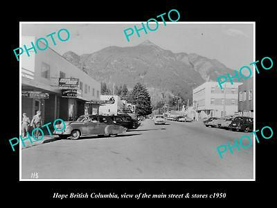 OLD LARGE HISTORIC PHOTO OF HOPE BRITISH COLUMBIA, THE MAIN St & STORES c1950