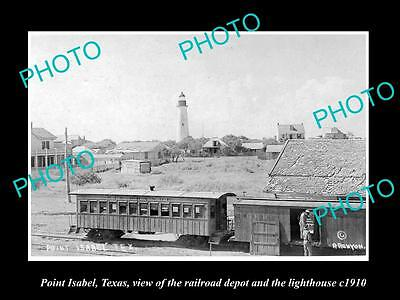 OLD LARGE HISTORIC PHOTO OF POINT ISABEL TEXAS, RAIL STATION & LIGHTHOUSE c1910
