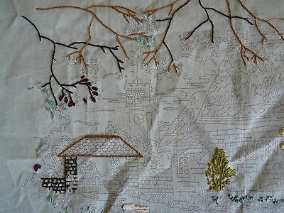 TO COMPLETE English Thatched Cottage & Church Printed Embroidery w/ some threads